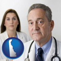 delaware map icon and a doctor and a nurse