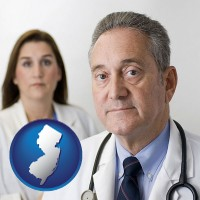 new-jersey map icon and a doctor and a nurse