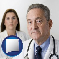 new-mexico map icon and a doctor and a nurse