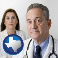 texas map icon and a doctor and a nurse