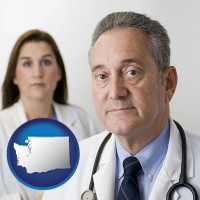 washington map icon and a doctor and a nurse